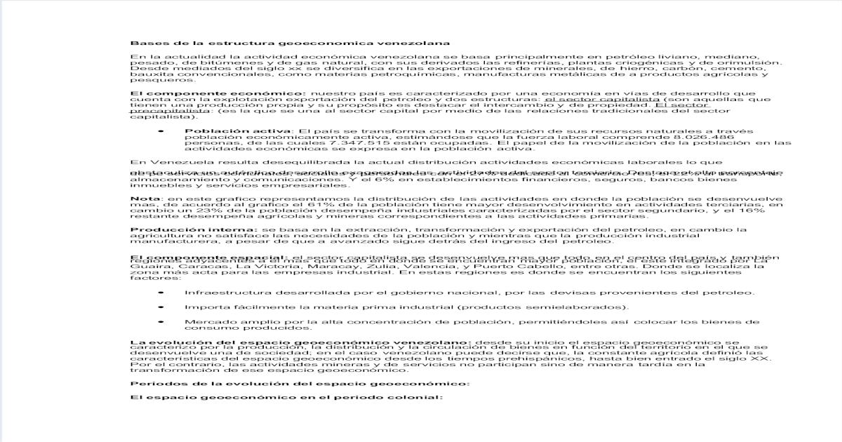 Bases De La Estructura Geoeconomica Venezolana Pdf Document