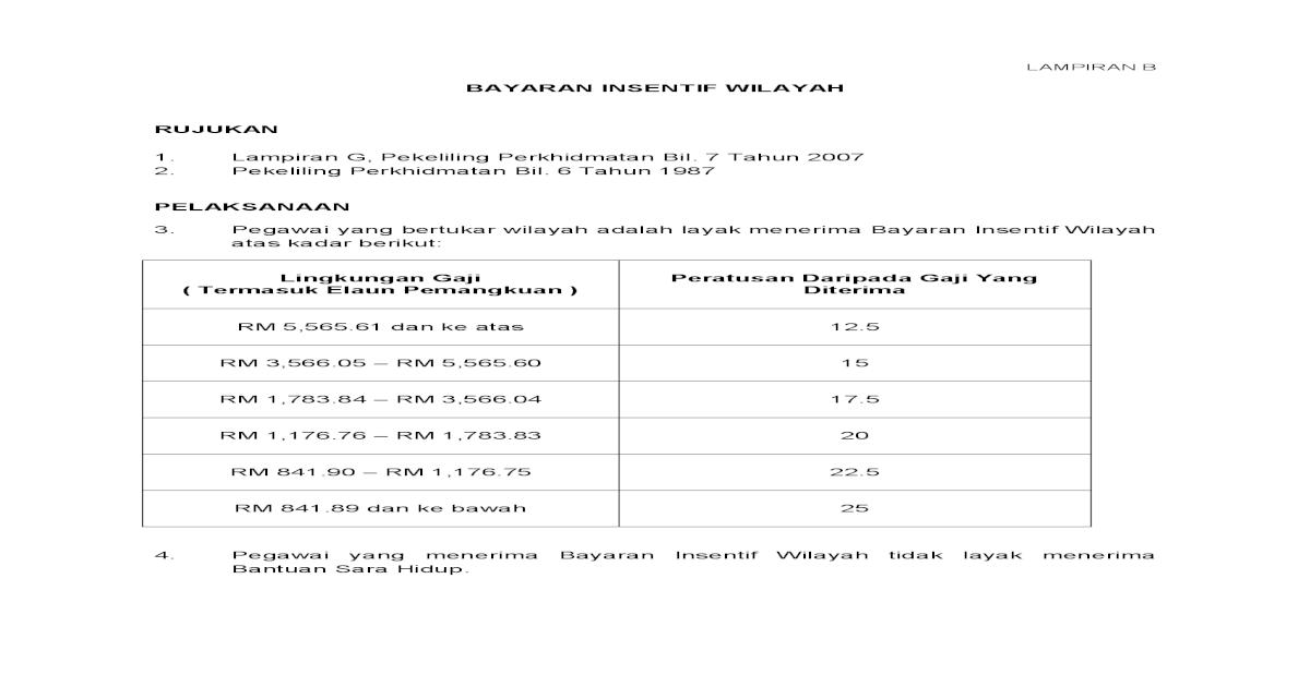 Bayaran Insentif Wilayah Rujukan 1 Lampiran G Pdf Document