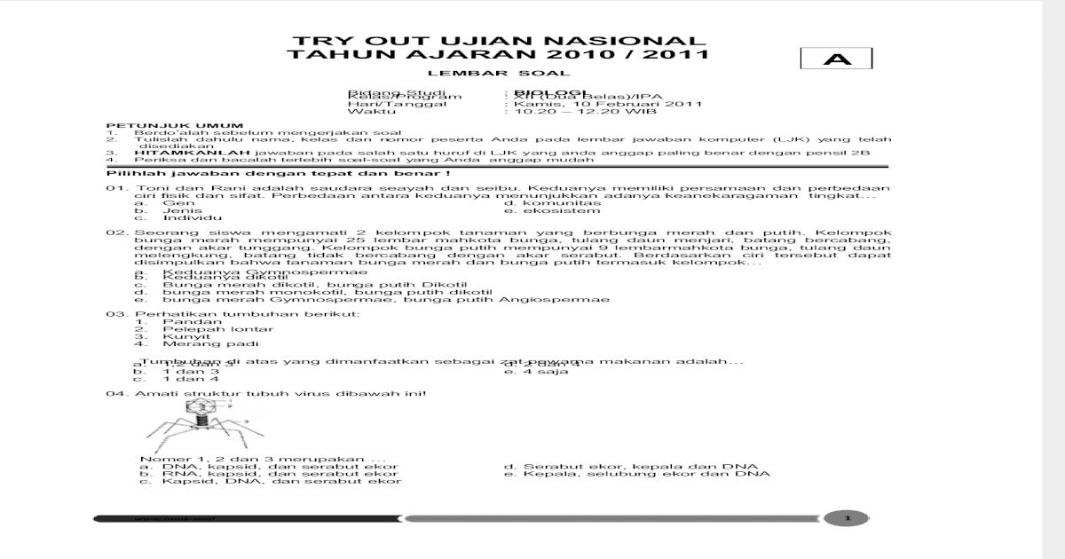 Tryout Biologi 2011 Tipe A Pdf Document
