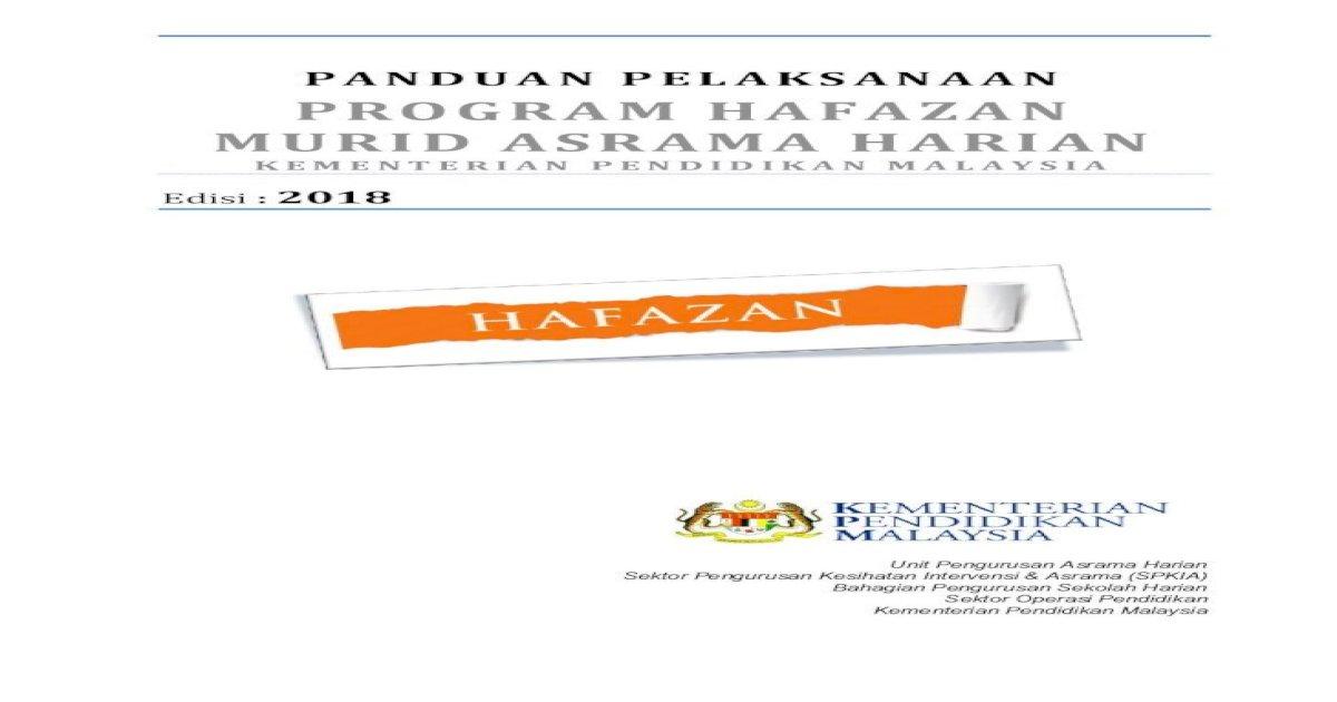 Panduan Pelaksanaan Program Hafazan Murid Pelaksanaan Program Hafazan Murid Asrama Harian Kpm Pdf Document