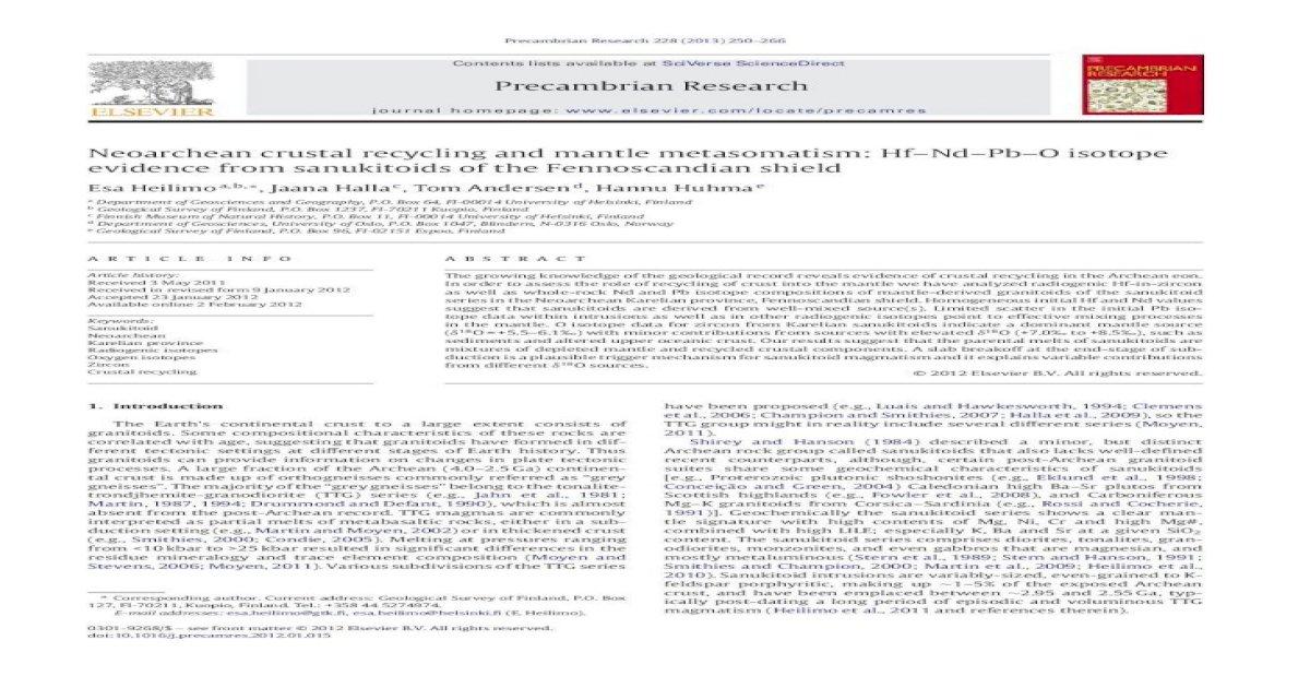 Neoarchean Crustal Recycling And Mantle Metasomatism Hfndpbo