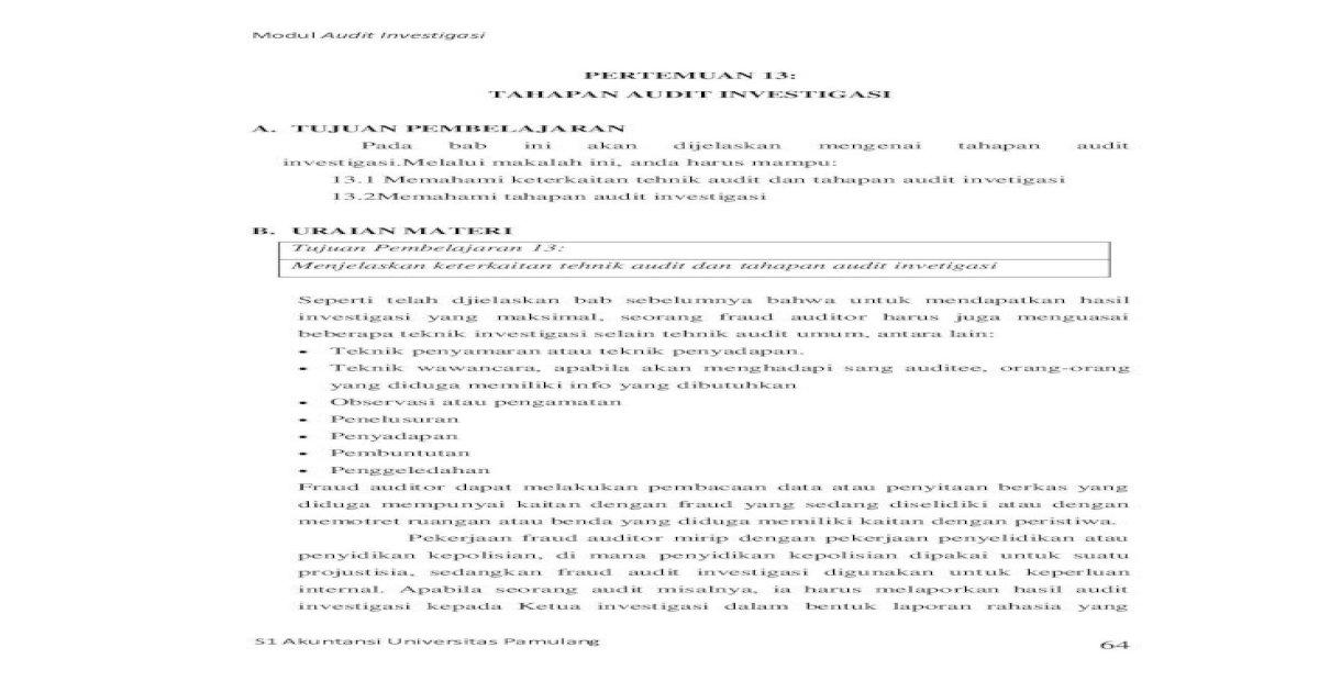 Audit Inves Tigasi Tu Juan Audit Investigasi Adalah Untuk Mengidentifikasi Dan Mengungkap Kecurangan Pdf Document