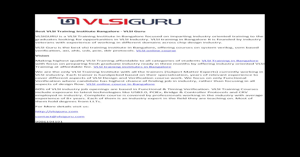 Best VLSI Training Institute Bangalore - VLSI Guru - [PDF