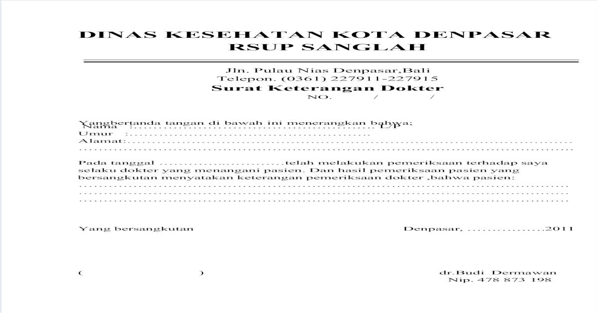 Contoh Surat Dokter Pdf Document