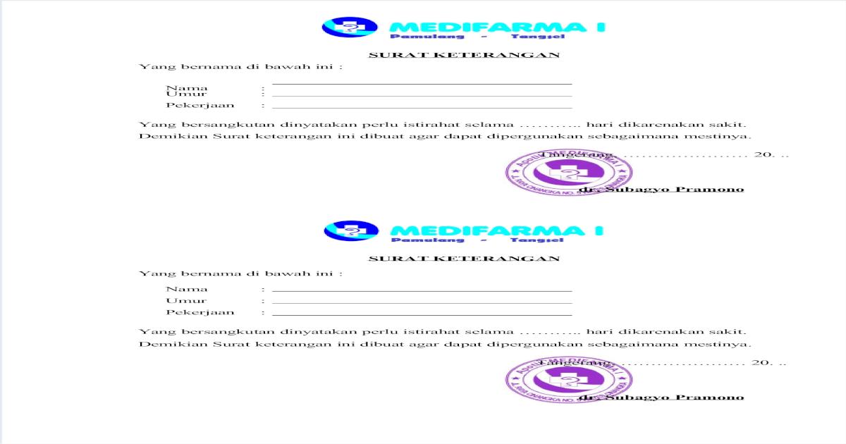 Tugas Contoh Surat Dokter Pdf Document