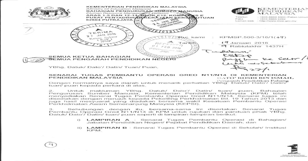Senarai Tugas Pembantu Operasi Gred N11 N14 Pdf Document