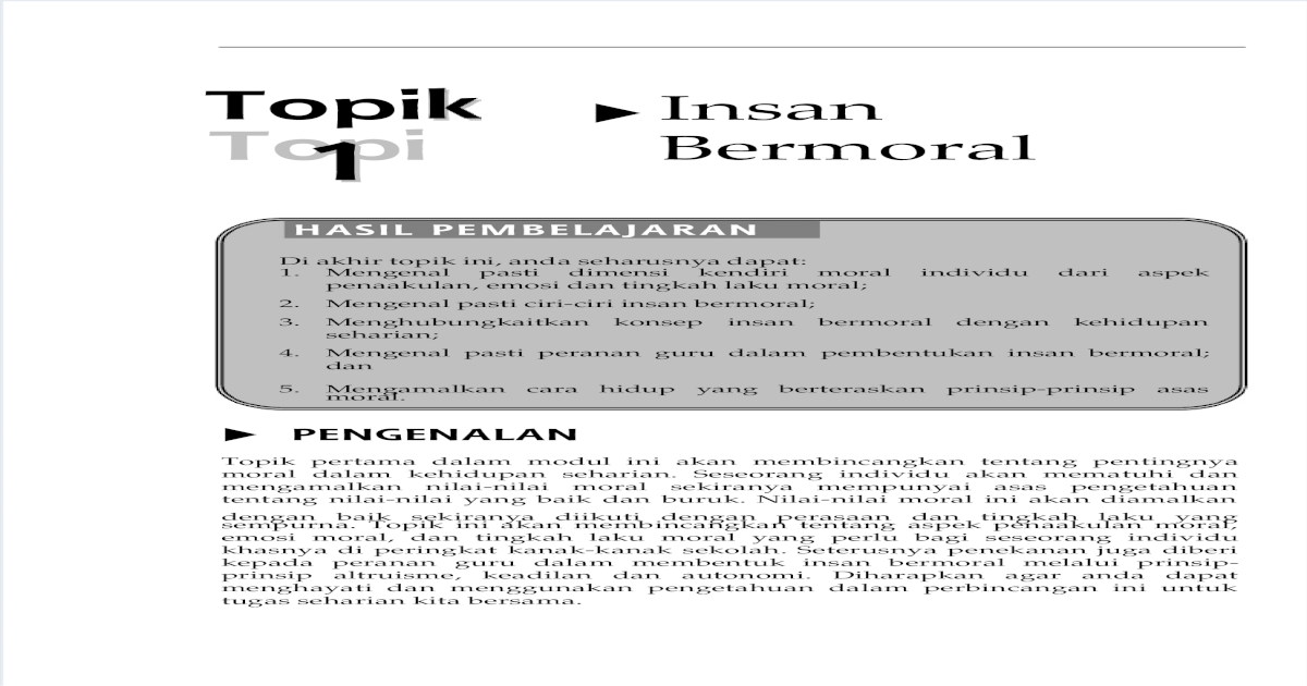 Topik 1 Insan Bermoral Pdf Document