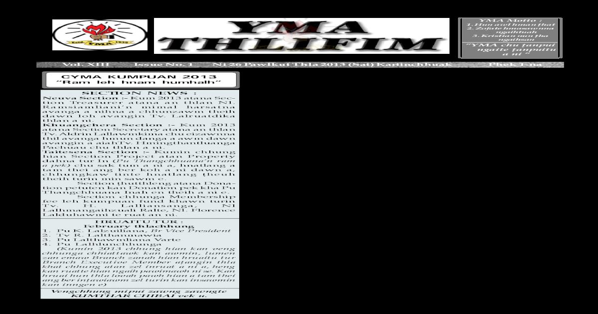 Yma Thlifim 2013 January June Issue Pdf Document