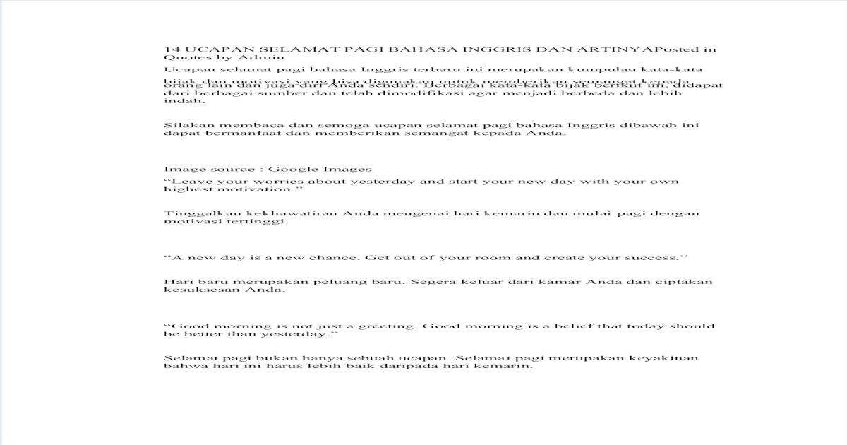 ucapan selamat pagi bahasa inggris dan artinya pdf document