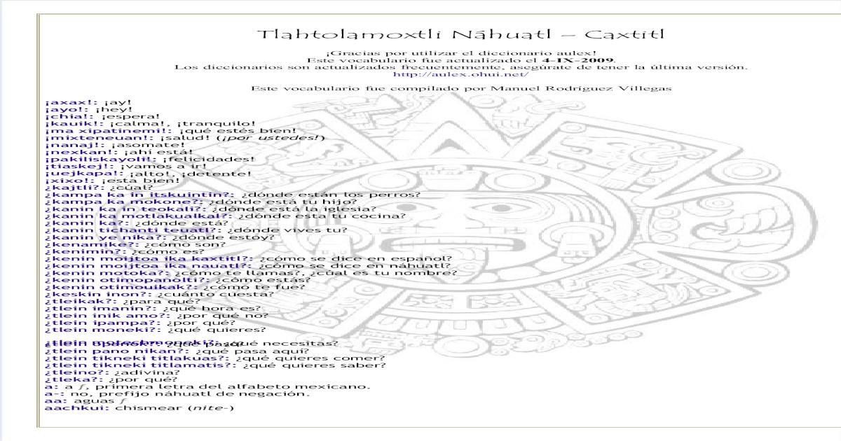 24351077 Tlahtolamoxtli Nahuatl Caxtitl Pdf Document