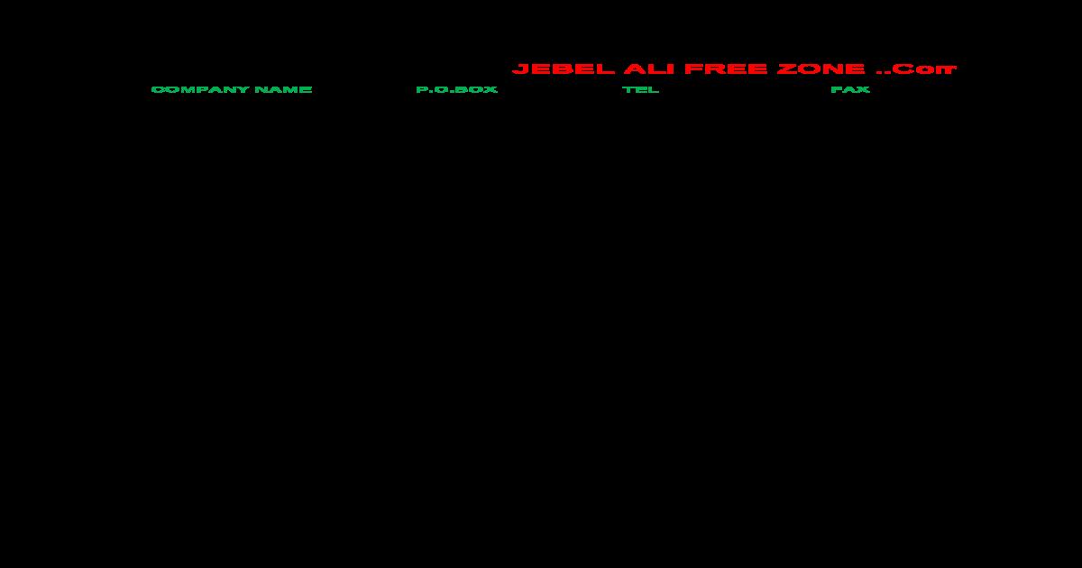 Jebel Ali Free Zone Data File   - [XLSX Document]