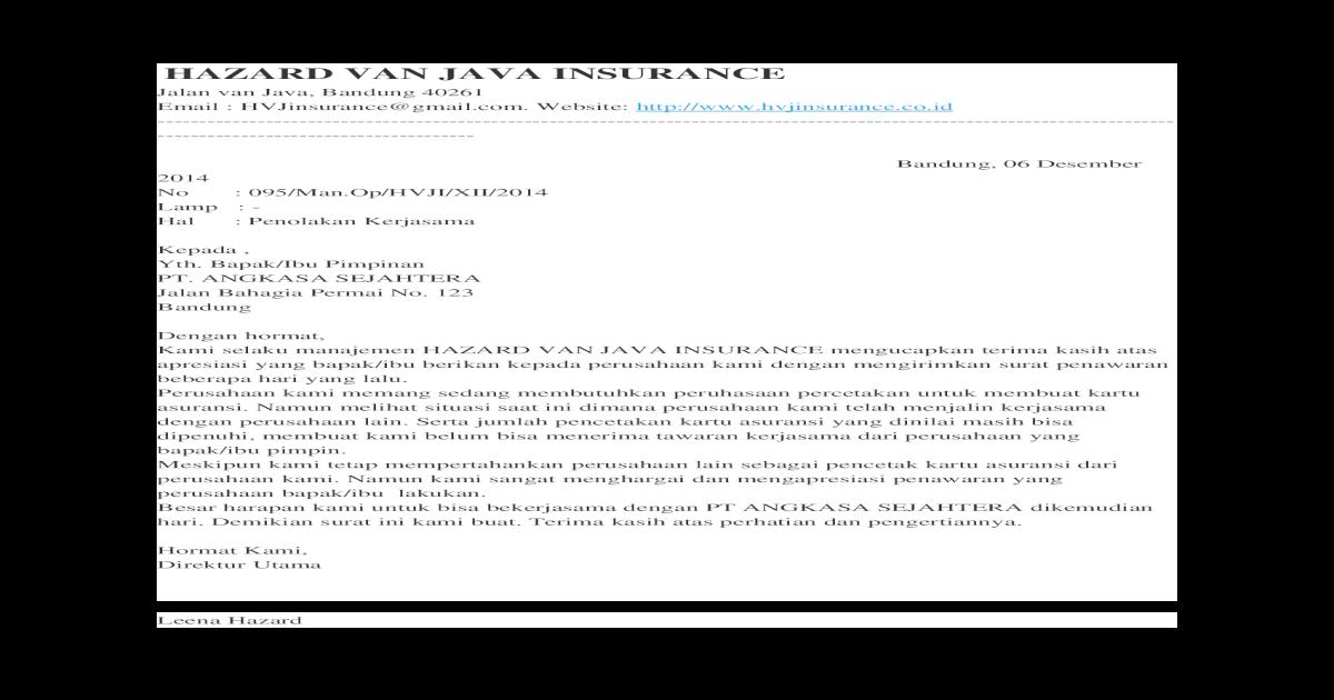 Surat Penolakan Kerja Sama Docx Document