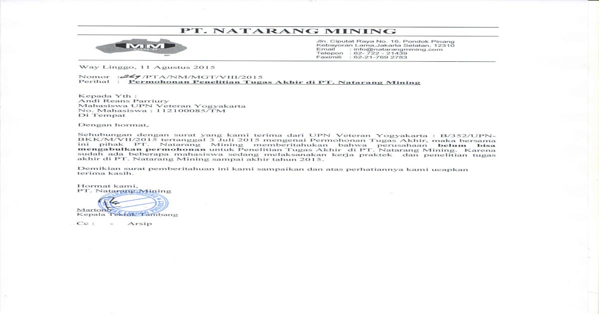 Surat Balasan Penolakan Pkl 2015 Mahasiswa Upn Pdf Document