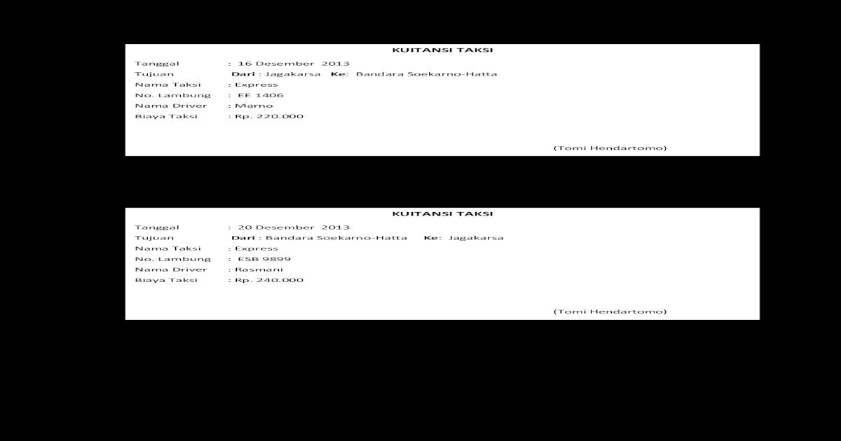 Kuitansi Taksidocx Pdf Document