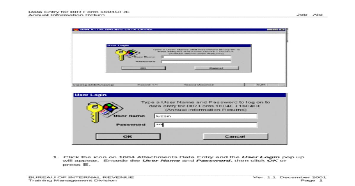 Data Entry for BIR Form 1604CF/E Annual Information Return