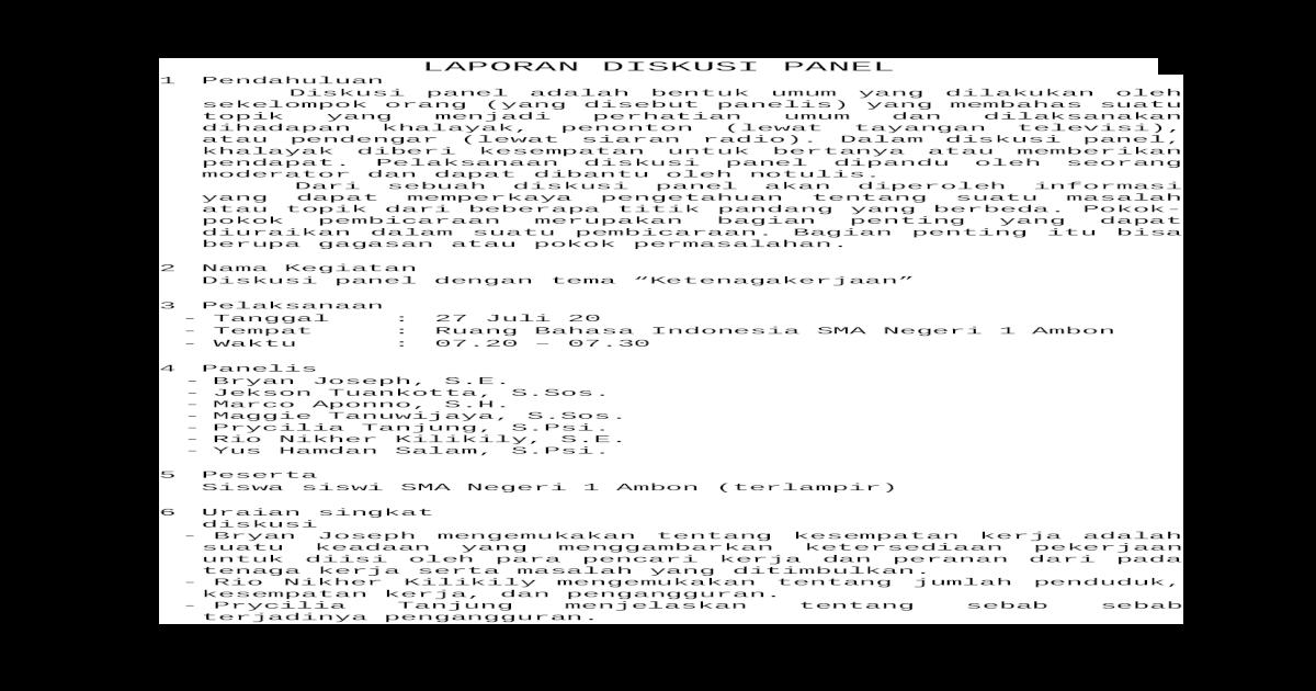 Laporan Diskusi Panel Docx Document