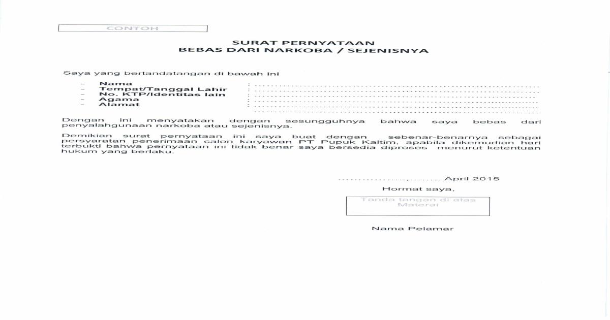 Surat Pernyataan Bebas Narkoba Pdf Document