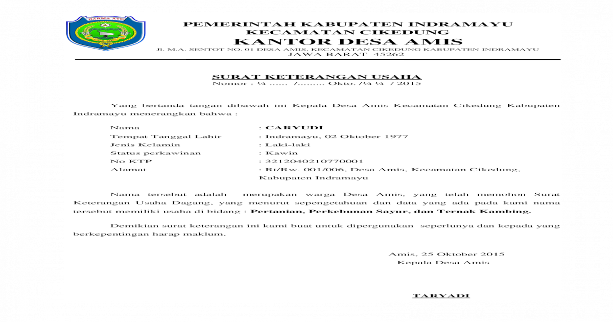 Surat Keterangan Usaha Sku Doc Document
