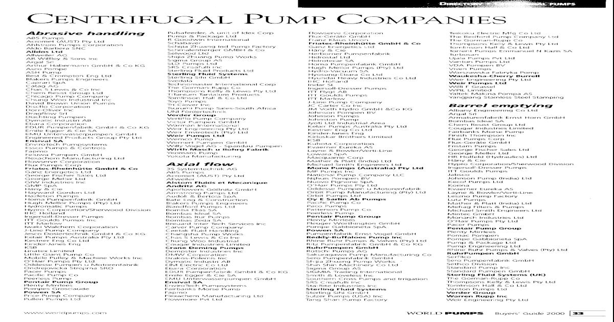 Centrifugal Pump Companies - [PDF Document]