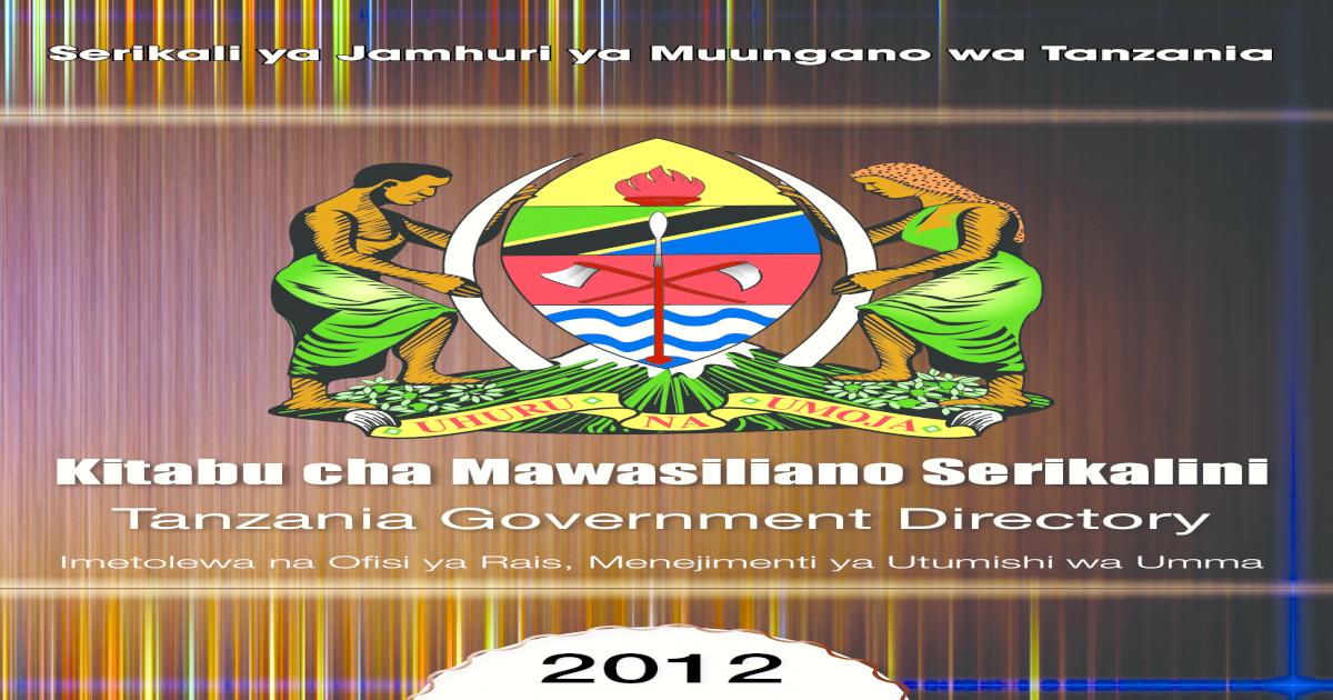 Utumishi Governtment Directory 2012 Final - [PDF Document]